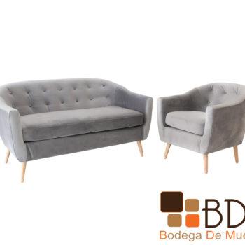 Set de sofa y sillon de madera con tapiz suede color gris