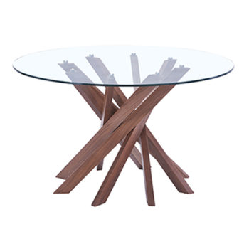 Mesa de centro de madera y cubierta de cristal moderna
