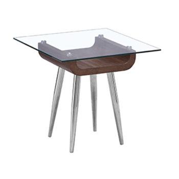 Mesa lateral para sala cubierta cristal base metal y madera nogal