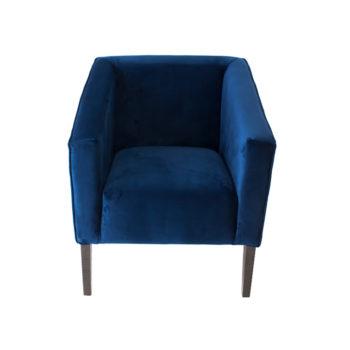 Sillon ocasional azul para sala individual en madera de poplar