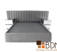 Recamara especial color gris con respaldo y buros