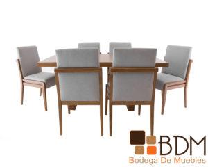 Comedor moderno de madera para 6 personas