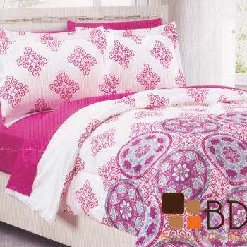 Edredon individual rosa moderno para cama