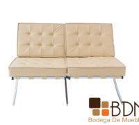 Love seat moderno color crema dos sillones